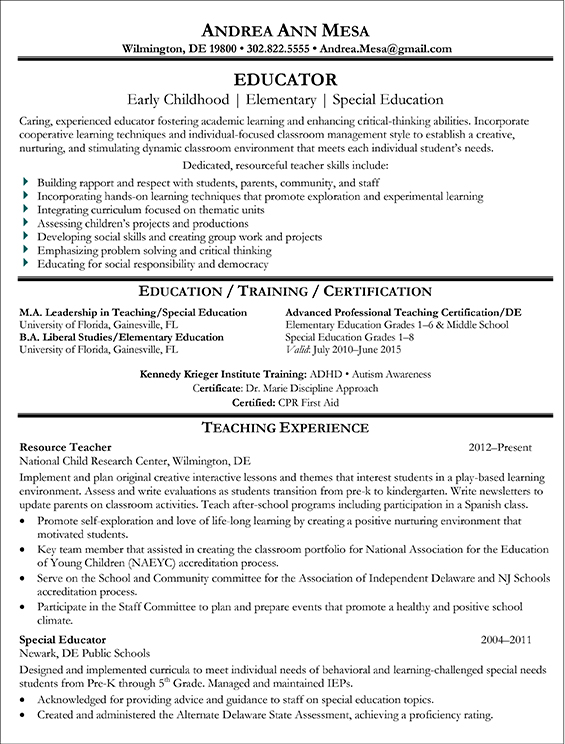 Educator Sample Resume-1